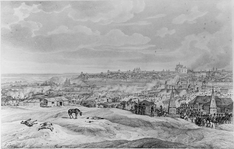Петербургская застава на рисунке Альбрехта Адама «Вид Смоленска с северной стороны 19 августа 1812».